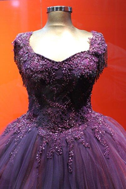 Albayrak Moda Prenses Model Dantel Işlemeli Mor Renk Nişanlık