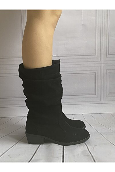 Baybaco Kadın Siyah Nubuk Kovboy Çizme 36-39