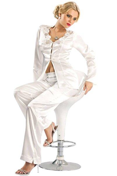 Mite Love Kadın Beyaz Saten Pijama Takımı