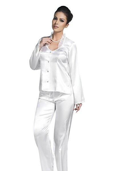 Mite Love Kadın Beyaz Gecelik Saten Pijamalı Takımı