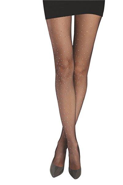 Daymod Kadın Siyah File Taşlı Külotlu Çorap