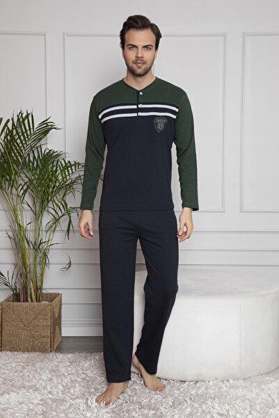 FALKOM Erkek Uzun Kollu Nakışlı Düğmeli Çizgi Detaylı Pijama Takımı Yeşil Homewear Ev Kıyafeti 2016y
