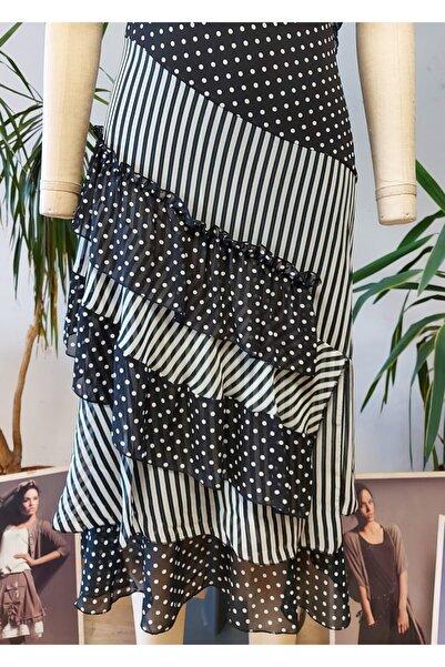 Bosca Siyah / Beyaz Puantiyeli Ve Çizgi Desenli Askılı Şifon Elbise