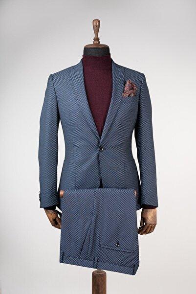 Sarar Erkek Lacivert Torba Cep Slim Fit Kırlangıç Yaka Takım Elbise