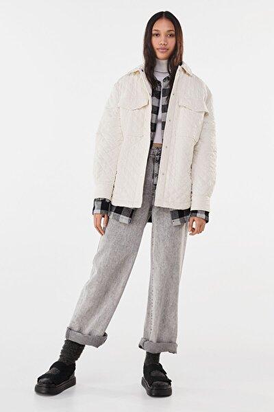 Bershka Kadın Krem Ince Ceket