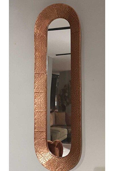 Lucky Art Bakır Dövmeli Oval Duvar Aynası 103*31 Cm