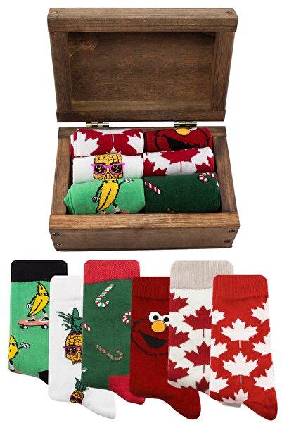 Socksarmy Kanada Bayrağı Muz Ananas Desenli 6 'lı Ahşap Kutulu Çorap Seti