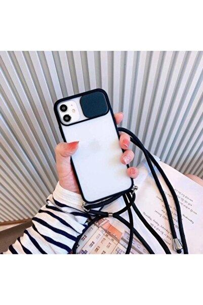 Aksesuarkolic Apple Iphone 11 Kılıf Kamera Korumalı Askılı Kapak + 5d Tam Ekran Cam