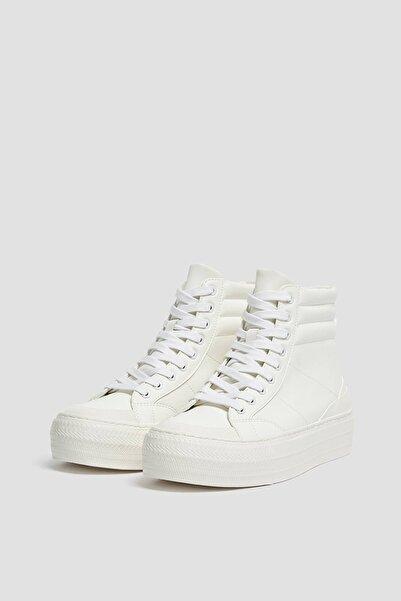 Pull & Bear Kadın Beyaz Yüksek Blekli Platform Spor Ayakkabı