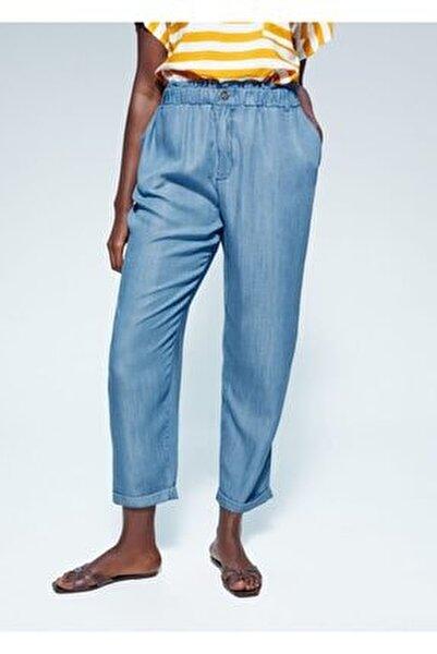 Kadın Donuk Mavi Beli Elastik Pantolon 67065706