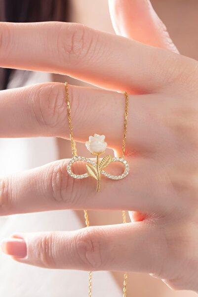 takı tak silver Kadın Tamamı Saf Orjinal 925 Ayar Gümüş Altın Kaplama Zirkon Taşlı Beyaz Gül Sonsuzluk Model Kolye