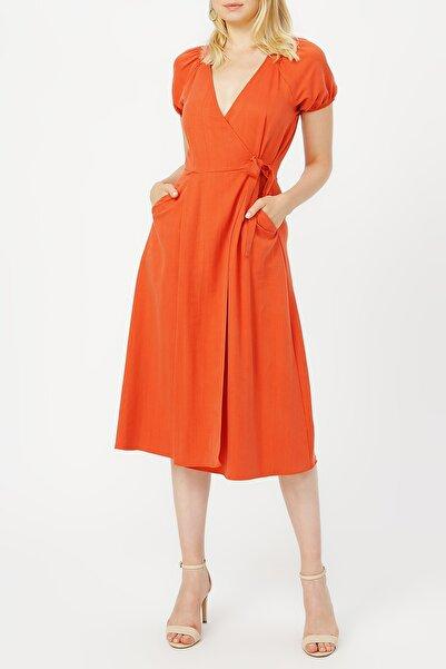 RANDOM Kadın Anvelop Kapama Gipe Detaylı Cepli Elbise %68 Lyocell %32 Polyester