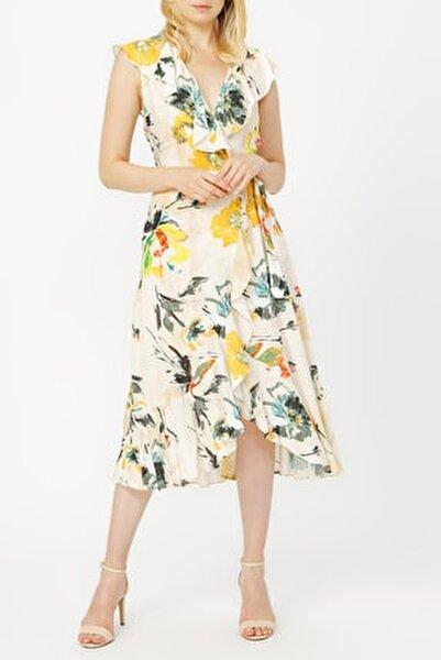 Anvelop Kapama Volan Detaylı Desenli Elbise %100 Vıscon