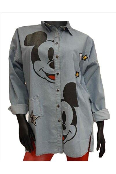 Mickey Mouse İnce Kot Gömlek