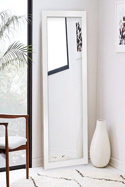Hüma's 130 X 58 Cm Beyaz Ahşap Dekoratif Retro Boy Ve Duvar Aynası
