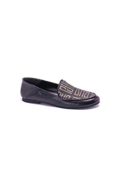 Silver Polo Kadın Siyah Platin Loafer Ayakkabı