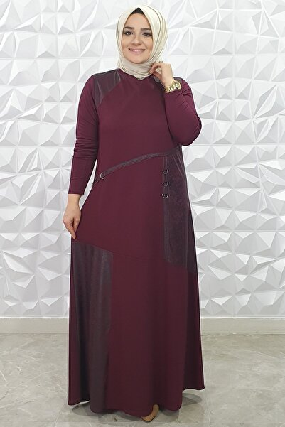 ŞURA GİYİM Deri Detaylı Elbise 9030