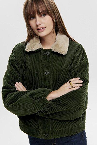 Only Onlbitten Cord Button Fur Jacket Kadın Mont