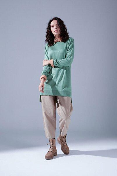 Mizalle Kadın Yeşil Yuvarlak Yaka Triko Tunik