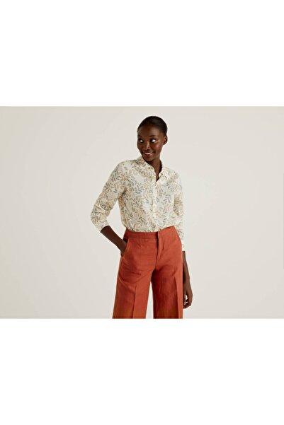 United Colors of Benetton Kadın Beyaz Desenli Koton Gömlek