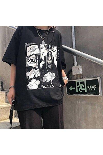 Köstebek Ars Anime Naruto : Itachi Uchiha Siyah Unisex T-shirt