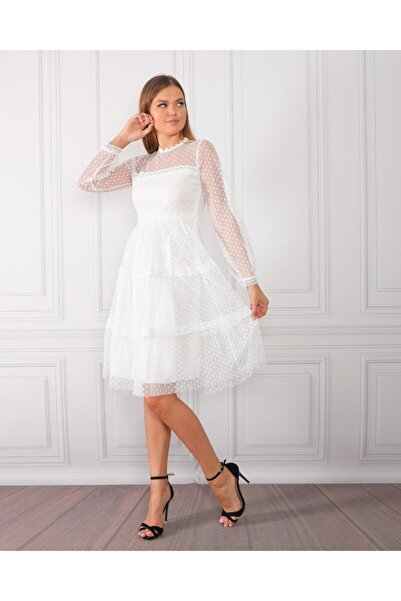 Miss Selens Puantiyeli Tül Elbise