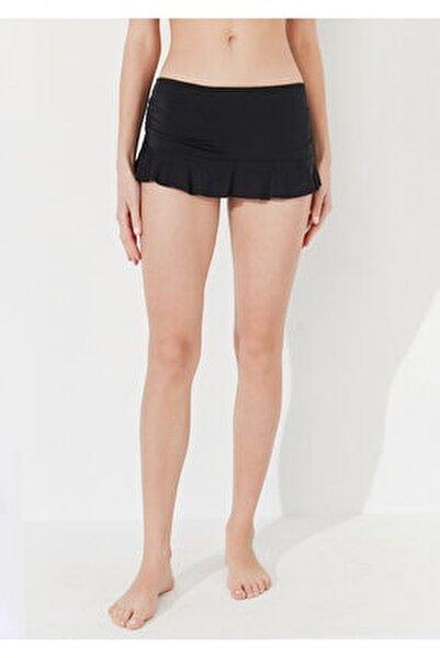 Kadın Siyah Basic Etekli Bikini Altı