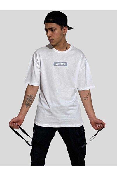 BREEZY Unisex Oversize Reflektörlü Beyaz Tişört Quit Earth