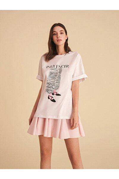 Nocturne Kadın  Baskılı Oversize   T-Shirt