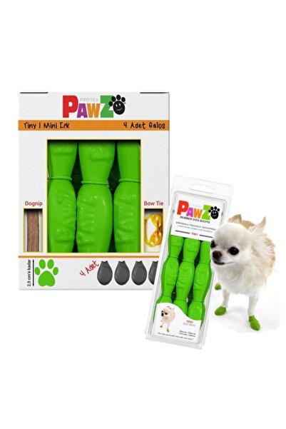 Pawz Su Geçirmez Yeşil Köpek Galoşu, Köpek Ayakkabısı Tiny-2,5 Cm-4 Adet