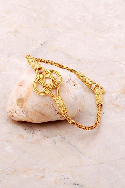 Sümer Telkari Kadın Kazaziye İşlemeli Altın Yaldızlı Şems Düğümü Bileklik 3638