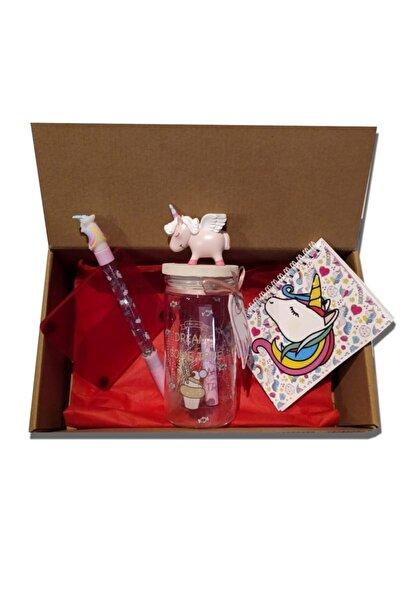 Yamamiya Unicorn Temalı Işıklı Dilek Kavanozu, Kalem, Defter Ve Bardak Altlığı Içeren Hediye Kutusu