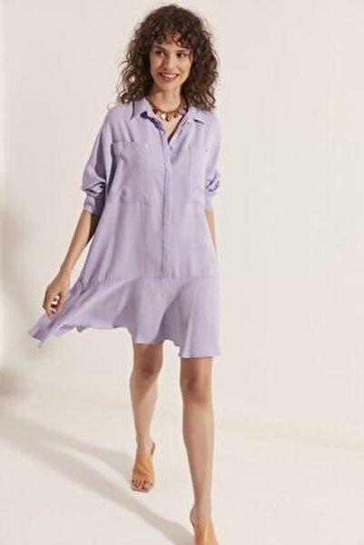 Etek Ucu Volanlı Gömlek Elbise