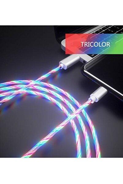 Elmas Iphone Full Işıklı Hareketli Manyetik Mıknatıslı Şarj Aleti Sarj Kablosu Rgb Karışık Renkli