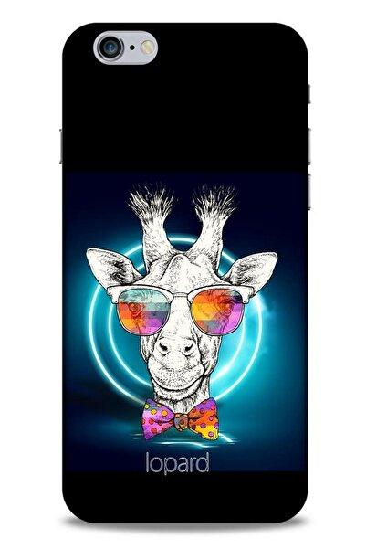 Lopard Apple Iphone 6s Plus Kılıf Funnymax (6) Silikon Kılıf Siyah Zürafa
