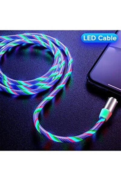 Micro Usb Full Işıklı Hareketli Manyetik Mıknatıslı Şarj Aleti Sarj Kablosu Rgb Karışık Renkli