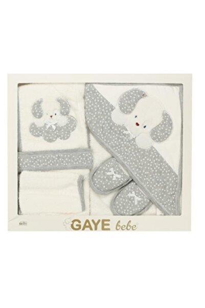 Gaye Bebe Gri Köpek Desenli 4'lü Bebek Havlu Takımı