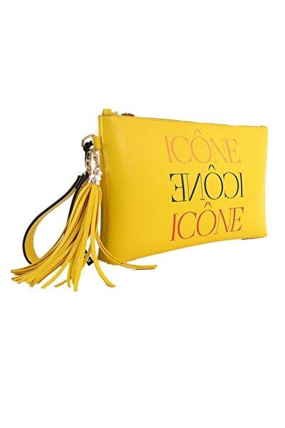 ICONE BAG Icone Sarı Baskılı Düz Deri Desenli Portföy Çanta
