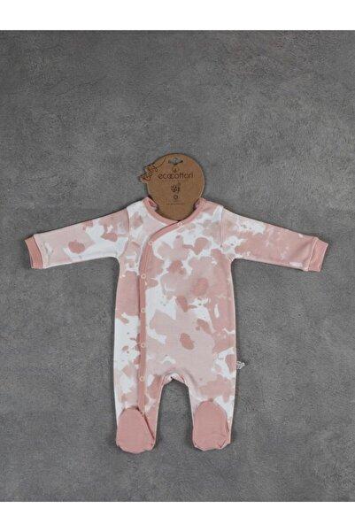 Ecocotton Unisex Bebek Beyaz Rosa Baskılı Tulum 9-12 Ay