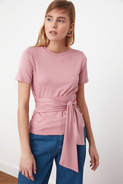 TRENDYOLMİLLA Gül Kurusu Bağlama Detaylı Örme Bluz TWOSS21BZ0138