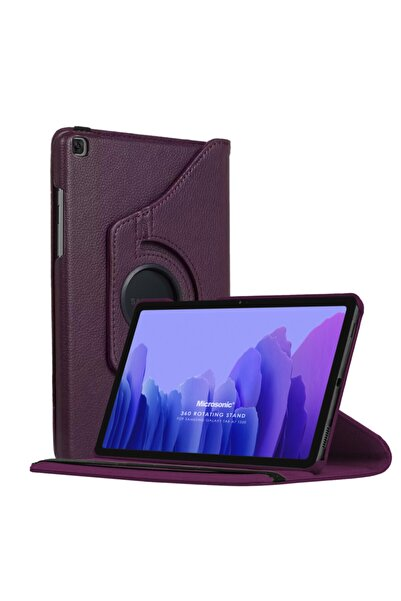 Samsung Microsonic Galaxy Tab A7 T500 Kılıf 360 Rotating Stand Deri Mor