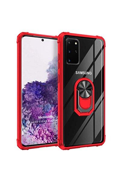 Samsung Microsonic Galaxy S20 Plus Kılıf Grande Clear Ring Holder Kırmızı