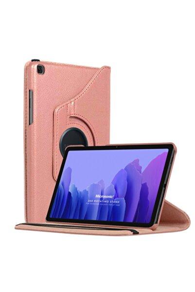 Microsonic Microsonic Galaxy Tab A7 T500 Kılıf 360 Rotating Stand Deri Rose Gold