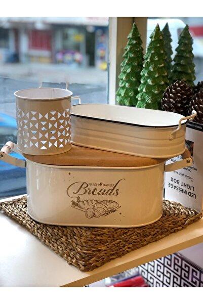 MİEN Metal Ferforje Ahşap Kapaklı (üstü Ekmek Kesme Tahtası) Ve Sofra Ekmeklik&karşıklık Set