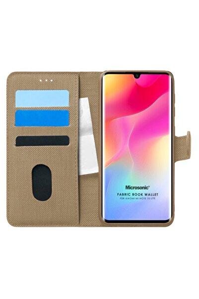 Xiaomi Microsonic Mi Note 10 Lite Kılıf Fabric Book Wallet Gold