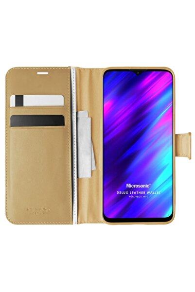 Meizu Microsonic M10 Kılıf Delux Leather Wallet Gold