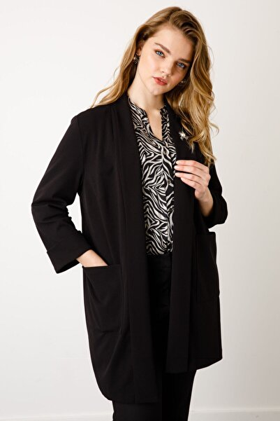 Ekol Kadın Siyah Şal Yaka Broşlu Ceket