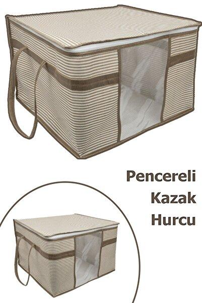Vivyan 2 Adet Pencereli Kazak Hurcu Sandık Tipi Çok Amaçlı Saklama Çantası 45 X 40 X 30 Cm - Krengi Çizgili