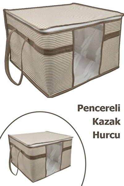 3 Adet Pencereli Kazak Hurcu Sandık Tipi Çok Amaçlı Saklama Çantası 45 X 40 X 30 Cm - Krengi Çizgili
