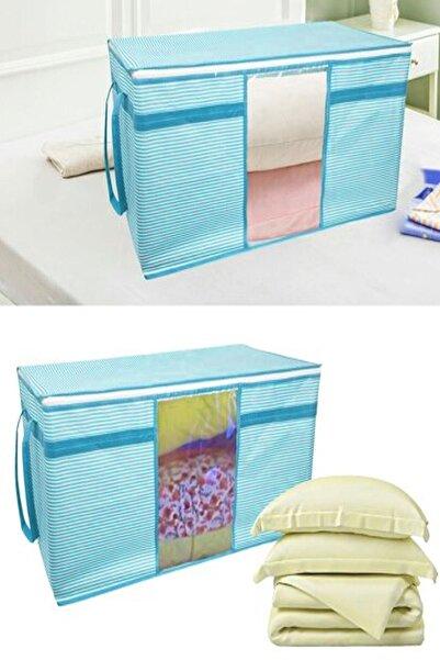Vivyan 3 Adet Pencereli Kazak Hurcu Sandık Tipi Çok Amaçlı Saklama Çantası 45 X 40 X 30 Cm - Mavi Çizgili
